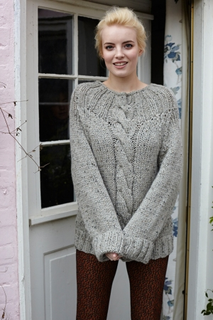 Debbie Bliss Paloma Tweed Cable Sweater Kit - Women's Pullovers