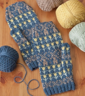 Cascade 220 Fingering Windmill and Flower Mittens Kit - Hats and Gloves