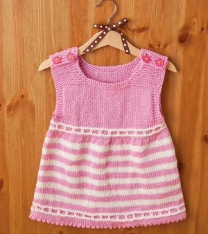 Cascade 220 Superwash Striped Dress Kit - Baby and Kids Pullovers