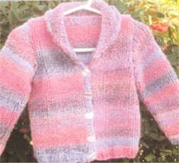 Muench Yarn Patterns - z230 - Child V-Neck Cardigan with Collar Pattern