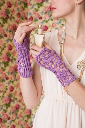 Manos Del Uruguay Silk Blend Lavender Wristers Kit - Crochet for Adults