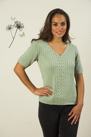 Plymouth Cleo Cables and Rib Pullover Kit - Women's Pullovers