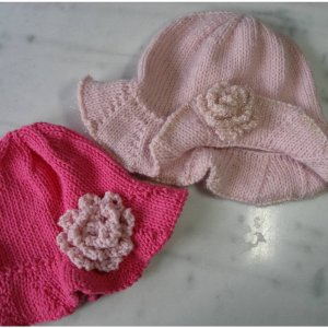 2 Knit Wits Patterns - Infant & Toddler Beanie with Brim Pattern