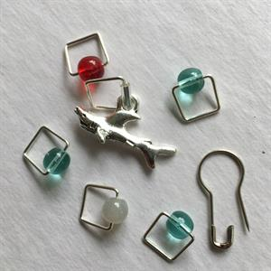 Spark Exclusive JBW Stitch Markers - '17 July - Shark Bait