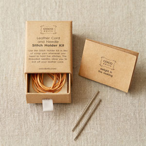 cocoknits Stitch Holder Kit - Leather Cord and Needle