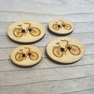 "Katrinkles Bamboo Buttons - Bicycle - 3/4"" x 1"""
