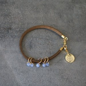Heidi and Lana Stitch Marker Bracelets - L/XL Gold - Bluebell