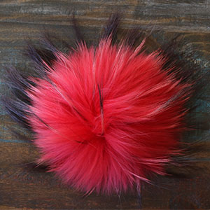 "Jimmy Beans Wool Fur Pom Poms - Red - Snap (6"")"