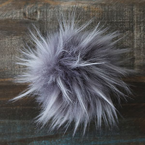 Jimmy Beans Wool Faux Fur Pom Poms - Grey
