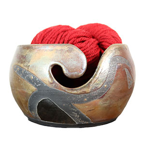 LickinFlames Yarn Bowl - Medium - Raku Foggy Dew X