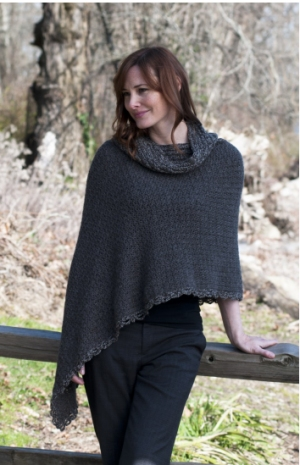 Cascade Eco Alpaca Black Pearl Poncho Kit - Crochet for Adults