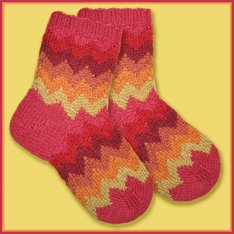 Knitwhits KnitWhit Kits - Wallis Salsa Socks For Tots