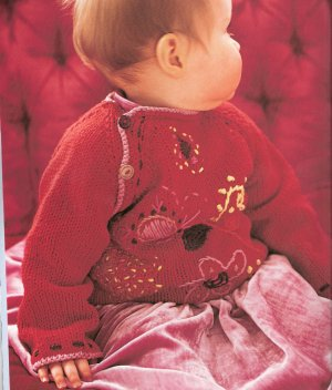 Rowan Handknit Cotton Embroidered Raglan Baby Sweater Kit - Baby and Kids Pullovers