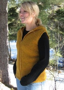 Knitting Pure and Simple Women's Cardigan Patterns - 0272 - Bulky Hooded Vest Pattern