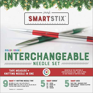 Jimmy Beans Wool Jimmy's SmartStix Holiday Interchangeable Needle Set Needles - Red/Green/Silver Needles