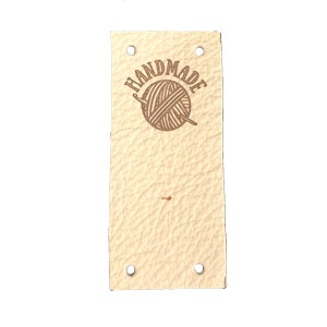 Leather Goods Company Center Fold Leather Label - Handmade - Crochet Hook and Yarn Ball
