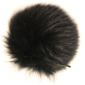"Jimmy Beans Wool Fur Pom Poms - Black - Snap (5"")"