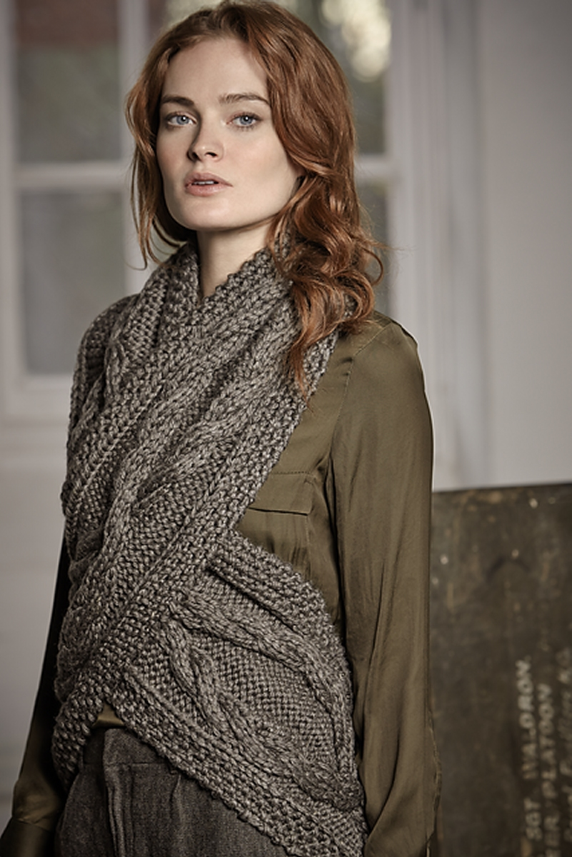 Knitting Pattern Scarf Rowan : Rowan Big Wool Silk Turmeric Wrap Kit - Scarf and Shawls ...