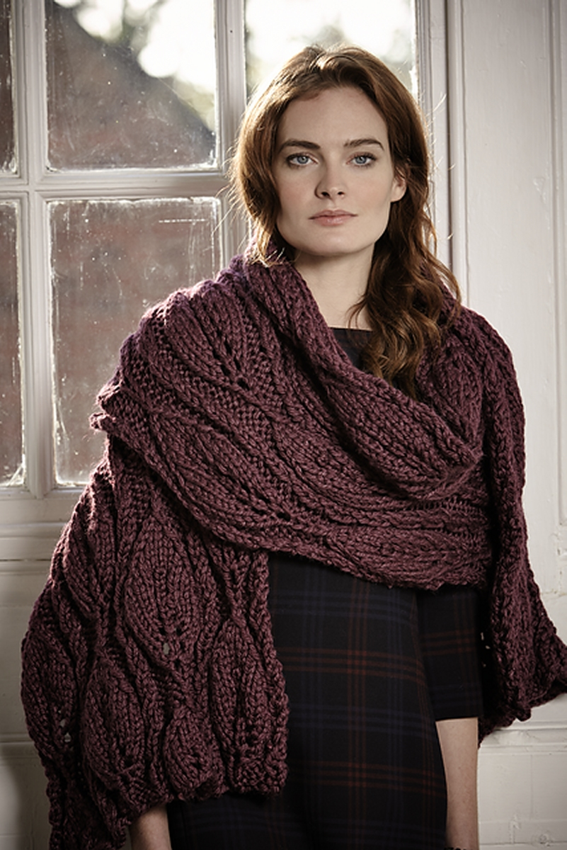Knitting Pattern Big Scarf : Rowan Big Wool Silk Sesame Wrap Kit - Scarf and Shawls ...