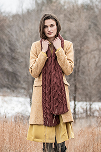Blue Sky Fibers Patterns - The Classic Collection Patterns - Edina Cabled Scarf - PDF DOWNLOAD photo