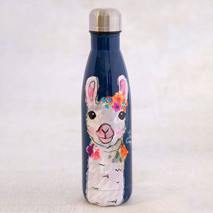 Natural Life Llive Happy Collection - Happy Floral Llama Water Bottle
