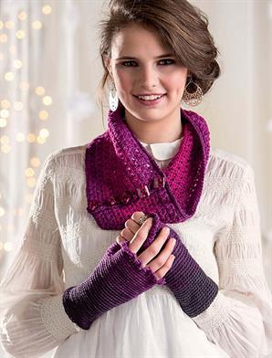 Freia Fine Handpaints Ombre Sport Ombre Cowl and Fingerless Mitts Kit - Crochet for Adults