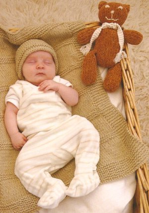 Blue Sky Alpacas Worsted Cotton Baby Blanket and Hat Kit - Baby and Kids Accessories