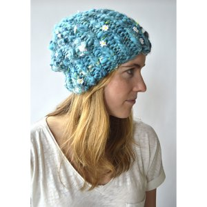Knit Collage Daisy Chain or Swirl Ribby Slouch Beanie Kit - Hats and Gloves