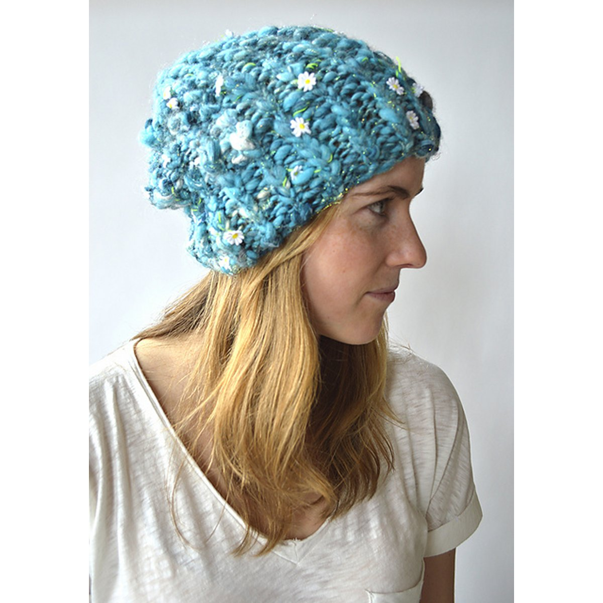 bb1f5b6f62e Knit Collage Daisy Chain or Swirl Ribby Slouch Beanie Kit - Hats and Gloves