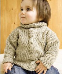 Mission Falls 1824 Cotton Powell Cabled Baby Sweater Kit - Baby and Kids Pullovers