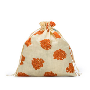 della Q Large Eden Pouch - 119-2 - *Linen Flower - Orange