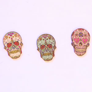 Jimmy Beans Wool Fright Club - Day of the Dead Buttons - Natural