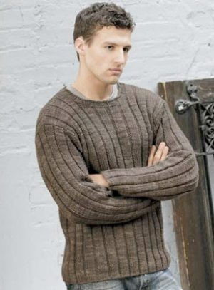 Blue Sky Alpacas Adult Clothing Patterns - Men's Ribbed Sweater Pattern